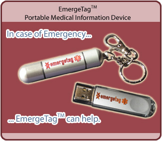 EmergeTag - Portable Medical Information Device.  In case of emergency, EmergeTag can help