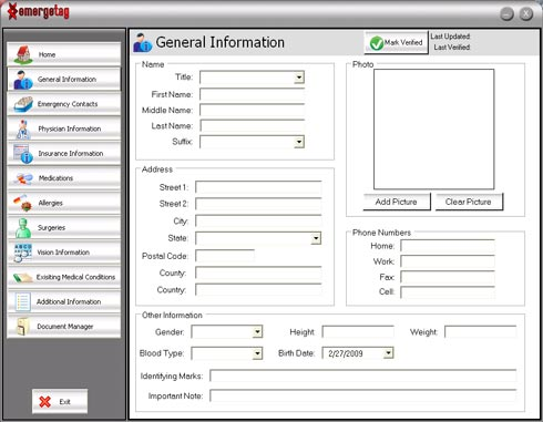 The EmergeTag general information data entry screen